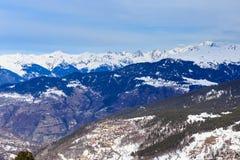 Взгляд долины Meribel Центр деревни Meribel (1450 m Стоковые Фотографии RF