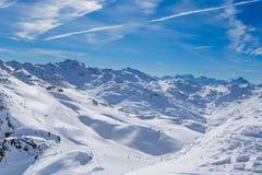 Взгляд долины Val Thorens Стоковые Фотографии RF
