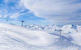 Взгляд долины Val Thorens Стоковая Фотография