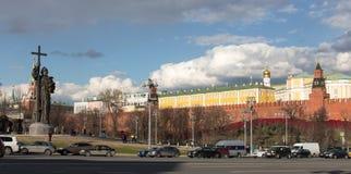 Взгляд памятника Москвы Кремля и принца Владимира Стоковая Фотография RF