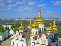 Взгляд панорамы к Киеву Pechersk Lavra Всемирное наследие ЮНЕСКО христианский скит стоковые изображения rf