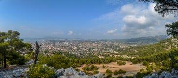 Взгляд панорамы от Mont Faron Тулона Франции Стоковые Изображения RF