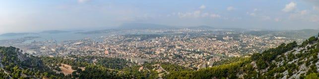 Взгляд панорамы от Mont Faron Тулона Франции Стоковая Фотография RF