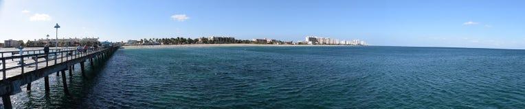 Взгляд панорамы пляжа Флориды Стоковое Изображение RF