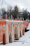Взгляд парка Tsaritsyno в Москве мост старый Стоковые Фото