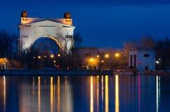 Взгляд первого замка канала Волга-Дон названного после Ленина, Волгограда Стоковая Фотография RF