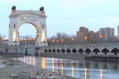 Взгляд первого замка канала Ленина Волга-Дон, Волгограда Стоковое фото RF