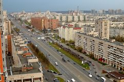 Взгляд перспективы города Стоковые Изображения RF