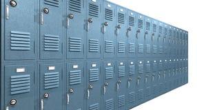 Голубая перспектива локеров школы Стоковое Изображение