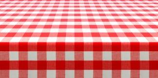 Взгляд перспективы таблицы с красным цветом проверил скатерть пикника Стоковое Фото