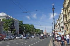Взгляд перспективы Nevsky в городе Санкт-Петербурга, России Стоковое Фото