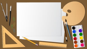 Взгляд поверхности настольного компьютера с расширением оно художническое и канцелярские принадлежности Дизайн и творческие спосо Стоковые Фотографии RF