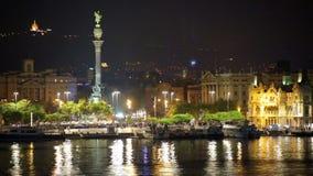 Взгляд порта Vell на Барселоне в ноче сток-видео