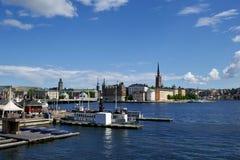 Взгляд портового района в Стокгольме Швеции стоковое изображение rf