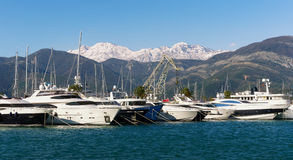 Взгляд Порту Черногории Город Tivat, Черногория Стоковые Изображения RF