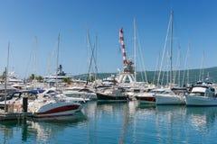 Взгляд Порту Черногории Tivat, Черногория Стоковая Фотография