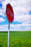 взгляд подкраской дорожного знака угла голубой широко стоковое фото rf