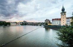 Взгляд Праги в вечере, чехия Стоковые Фото