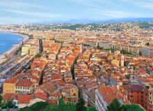 Взгляд птицы славного старого городка, французской ривьеры Стоковые Фото