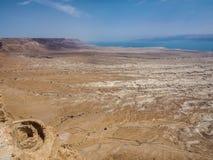 Взгляд пустыни и мертвого моря от Masada, Израиля Стоковые Фото