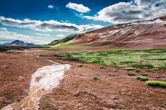 Взгляд пустыни на вулканической горе, Исландии Стоковое Изображение RF