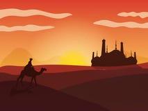 Взгляд пустыни с мечетью для исламских фестивалей Стоковое Изображение RF