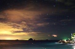 Взгляд пляжа ночи Стоковое фото RF