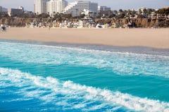Взгляд пляжа Санта-Моника от пристани в Калифорнии Стоковое Фото