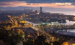 Взгляд рассвета Барселоны от Mondjuic Каталония, Испания Стоковое Изображение RF