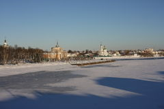 Взгляд реки Волги в зиме Стоковое Изображение