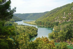 Взгляд реки от водопадов Krka Стоковые Изображения