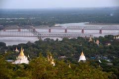 Взгляд реки Ayeyarwady от холма Sagaing, Мьянмы Стоковое Изображение