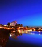 Взгляд реки nighttime горизонта города St Paul стоковые изображения rf