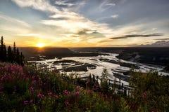 Река Copper на заходе солнца Стоковые Изображения RF