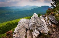 Взгляд Риджа и долины Аппалачей от ручки Tibbet, в национальном лесе Джорджа Вашингтона, Вирджиния стоковые изображения rf