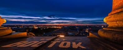 Взгляд Санкт-Петербурга ночи панорамный Стоковые Изображения RF