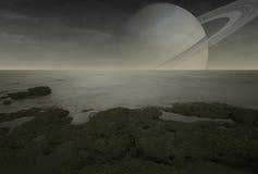 Взгляд Сатурна от луны титана Стоковые Изображения RF