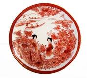 Взгляд сверху античного японского поддонника фарфора Стоковое Фото