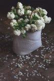 Взгляд сверху белых цветков в плетеной сумке Стоковая Фотография