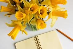 Взгляд сверху блокнота, карандаша и daffodils Стоковая Фотография RF