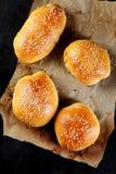 Взгляд сверху вкусных плюшек бургера на бумаге Стоковое Фото