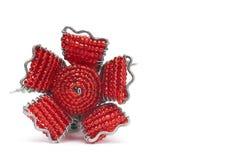 Взгляд сверху вышитый бисером розы красного цвета Стоковые Фотографии RF