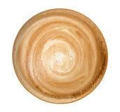 Взгляд сверху горячей пены спирали капучино кофе изолированной на белизне стоковое фото rf