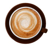 Взгляд сверху горячей пены спирали капучино кофе изолированной на белой предпосылке, пути стоковое изображение rf