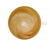 Взгляд сверху горячей чашки cappucino кофе изолированной на белом backgroun Стоковые Фото