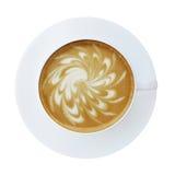 Взгляд сверху горячей чашки cappucino latte кофе изолированной на белом bac Стоковое Изображение RF