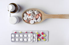 Взгляд сверху лекарств Стоковое Фото