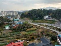 Взгляд сверху деревни стоковое изображение rf