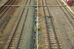 Взгляд сверху железнодорожного пути Стоковые Фото