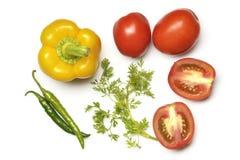 Взгляд сверху желтых болгарского перца, томата, Chili и кориандра Стоковое Изображение RF